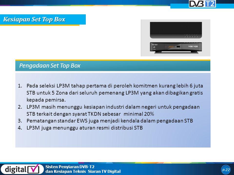 1.Pada seleksi LP3M tahap pertama di peroleh komitmen kurang lebih 6 juta STB untuk 5 Zona dari seluruh pemenang LP3M yang akan dibagikan gratis kepada pemirsa.
