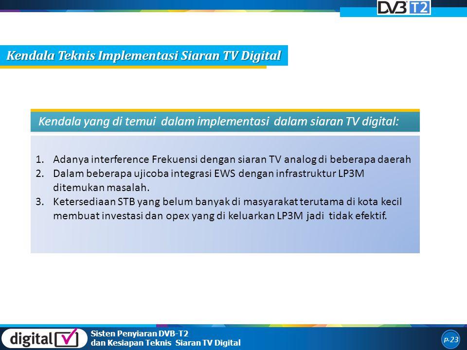 1.Adanya interference Frekuensi dengan siaran TV analog di beberapa daerah 2.Dalam beberapa ujicoba integrasi EWS dengan infrastruktur LP3M ditemukan masalah.