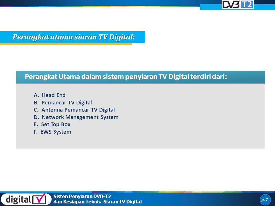 p. 7 Sisten Penyiaran DVB-T2 dan Kesiapan Teknis Siaran TV Digital Perangkat Utama dalam sistem penyiaran TV Digital terdiri dari: A. Head End B. Pema