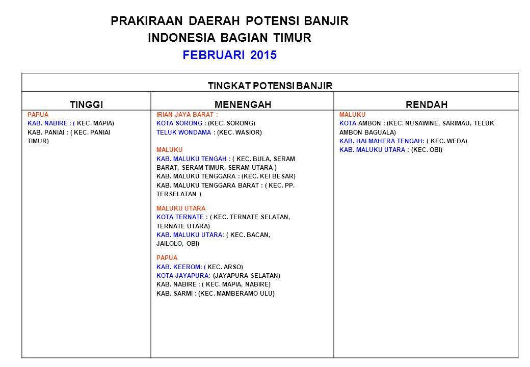 PRAKIRAAN DAERAH POTENSI BANJIR INDONESIA BAGIAN TIMUR FEBRUARI 2015 TINGKAT POTENSI BANJIR TINGGIMENENGAHRENDAH PAPUA KAB. NABIRE : ( KEC. MAPIA) KAB
