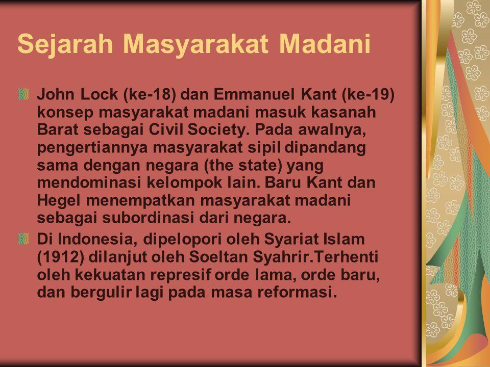 Sejarah Masyarakat Madani John Lock (ke-18) dan Emmanuel Kant (ke-19) konsep masyarakat madani masuk kasanah Barat sebagai Civil Society. Pada awalnya