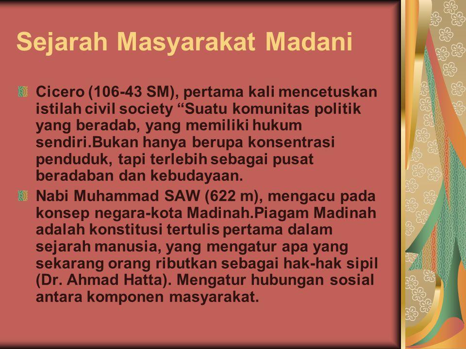 Sejarah Masyarakat Madani Piagam Madina: sesama muslimadalamsatu umat,walau berbeda suku; hubungan dengan non muslim didasarkan pada prinsip bertetangga baik, saling membantu dalam menghadapi musuh bersama, membela mereka yang teraniaya, saling menasehati, dan menghormati kebebasan beragama.