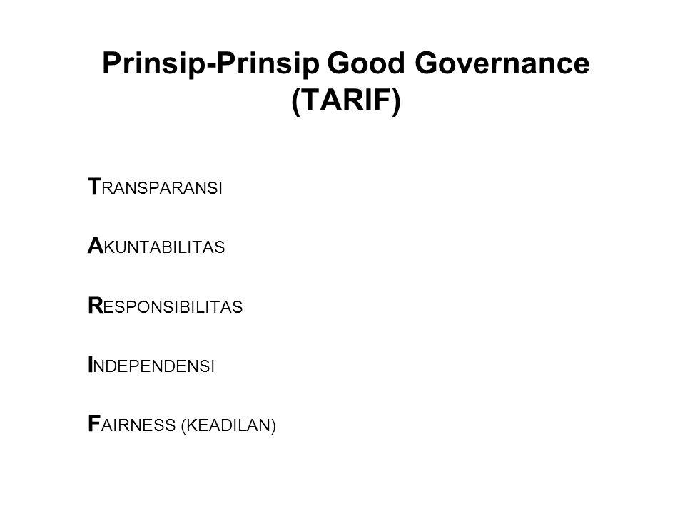 Prinsip-Prinsip Good Governance (TARIF) T RANSPARANSI A KUNTABILITAS R ESPONSIBILITAS I NDEPENDENSI F AIRNESS (KEADILAN)