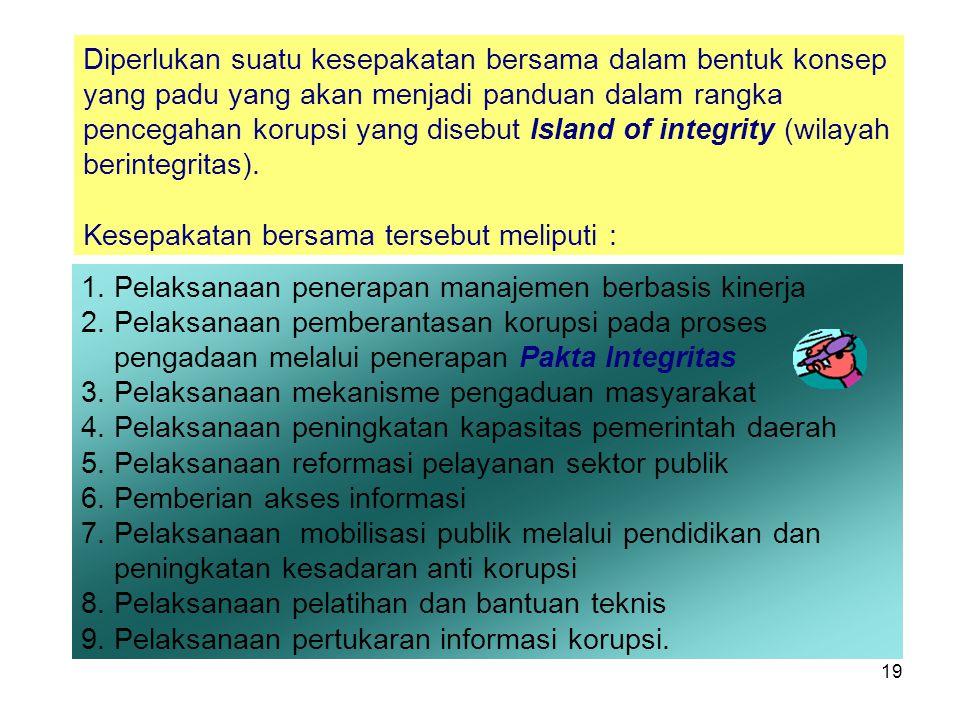 19 1.Pelaksanaan penerapan manajemen berbasis kinerja 2.Pelaksanaan pemberantasan korupsi pada proses pengadaan melalui penerapan Pakta Integritas 3.P