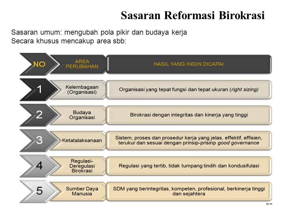 25 Sasaran Reformasi Birokrasi Sasaran umum: mengubah pola pikir dan budaya kerja Secara khusus mencakup area sbb: