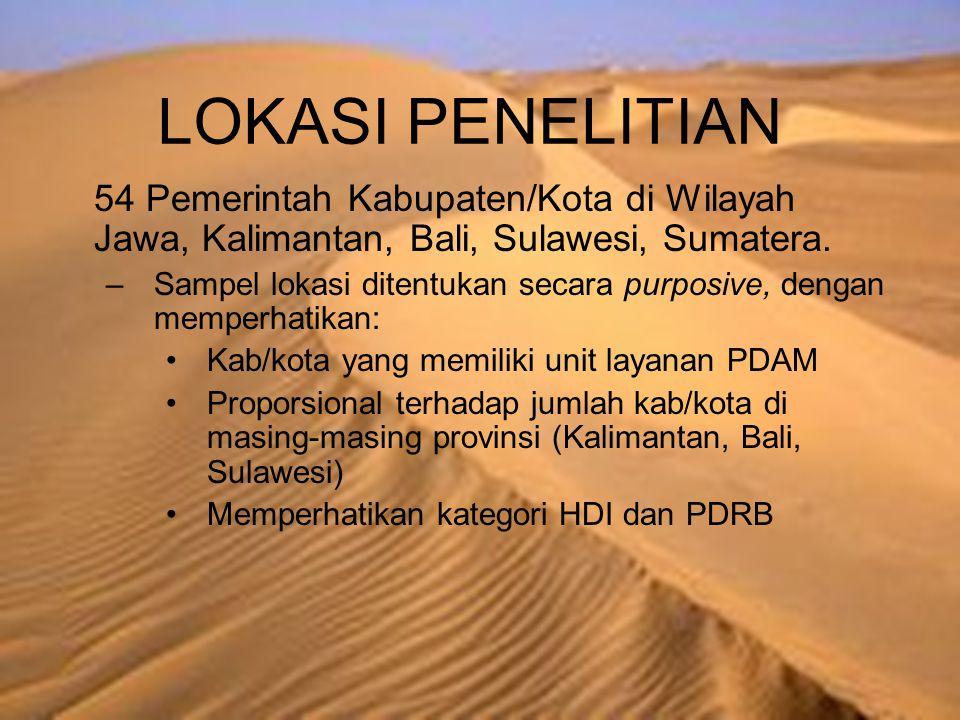 LOKASI PENELITIAN 54 Pemerintah Kabupaten/Kota di Wilayah Jawa, Kalimantan, Bali, Sulawesi, Sumatera. –Sampel lokasi ditentukan secara purposive, deng
