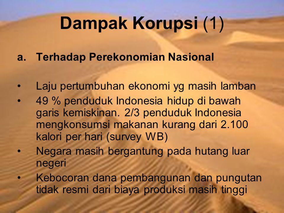 Dampak Korupsi (1) a.Terhadap Perekonomian Nasional Laju pertumbuhan ekonomi yg masih lamban 49 % penduduk Indonesia hidup di bawah garis kemiskinan.