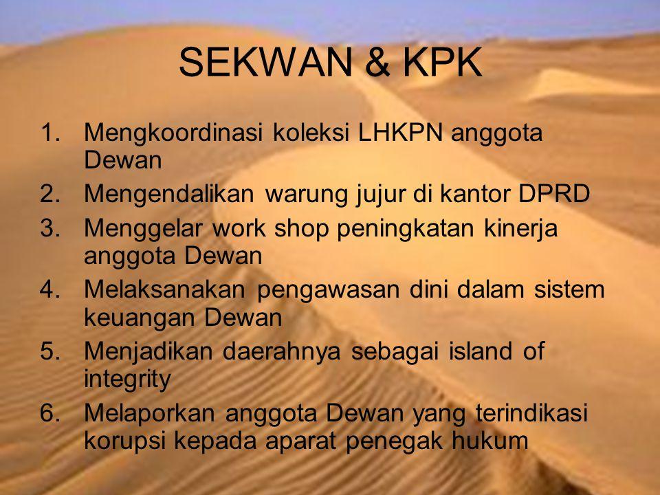 SEKWAN & KPK 1.Mengkoordinasi koleksi LHKPN anggota Dewan 2.Mengendalikan warung jujur di kantor DPRD 3.Menggelar work shop peningkatan kinerja anggot