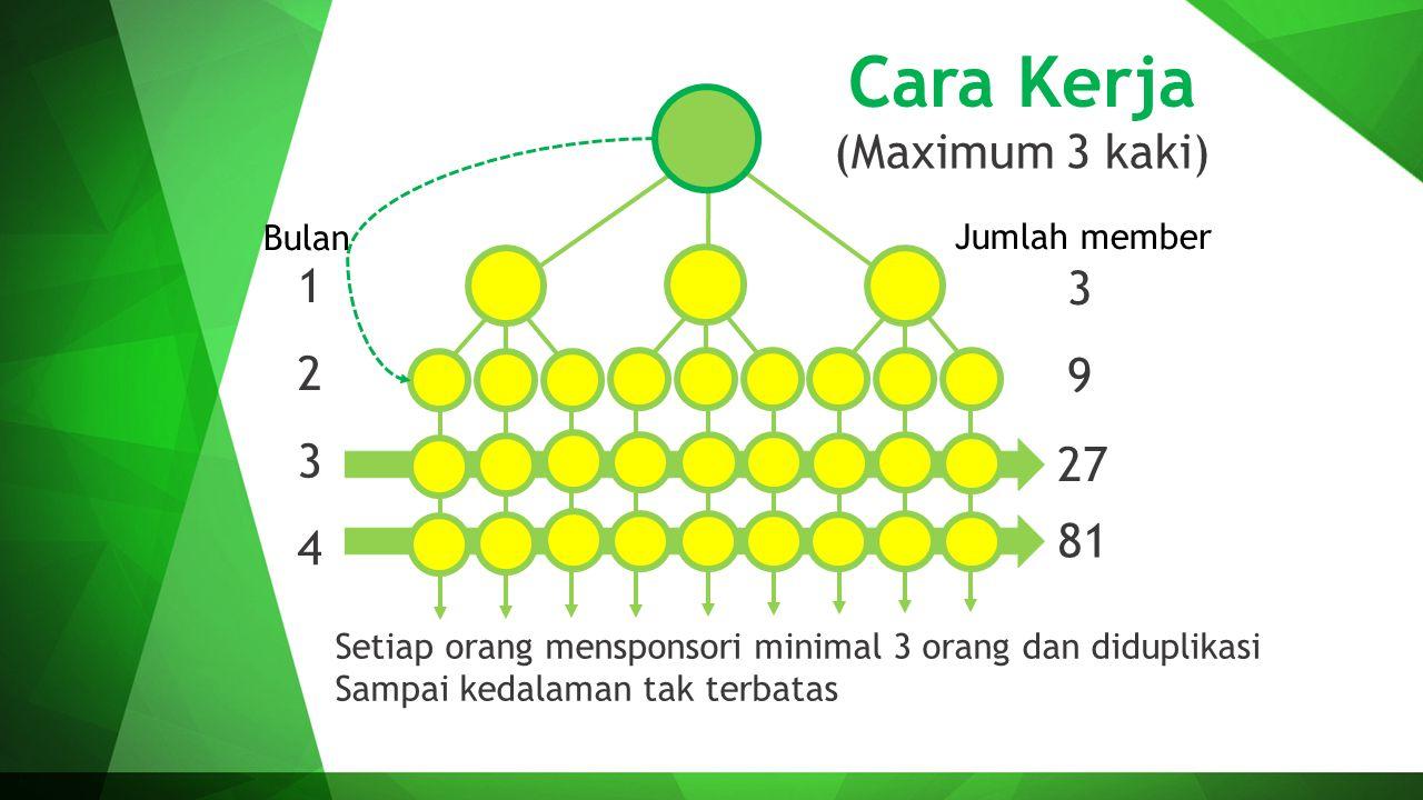 Cara Kerja (Maximum 3 kaki) 1 2 3 4 3 9 27 81 Setiap orang mensponsori minimal 3 orang dan diduplikasi Sampai kedalaman tak terbatas Bulan Jumlah memb