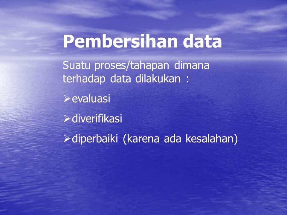 Proses pengolahan data, meliputi :  pembersihan data,  pembuatan ringkasan untuk analisis  berupa tabel-tabel  analisis data dan pengemasan inform