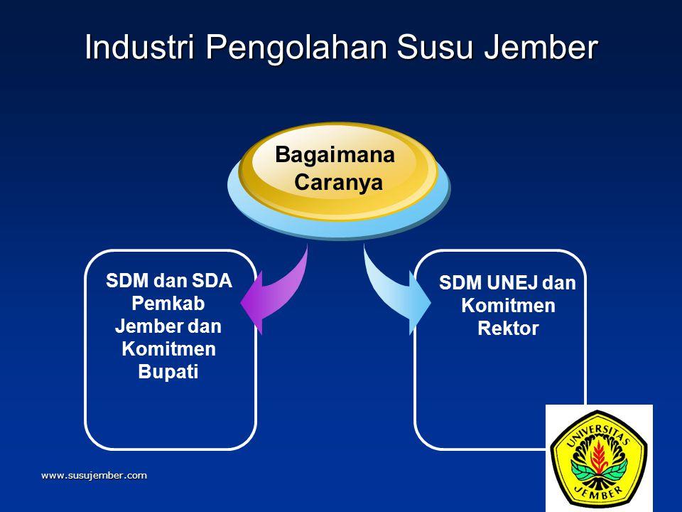 www.susujember.com Industri Pengolahan Susu Jember SDM dan SDA Pemkab Jember dan Komitmen Bupati Bagaimana Caranya SDM UNEJ dan Komitmen Rektor