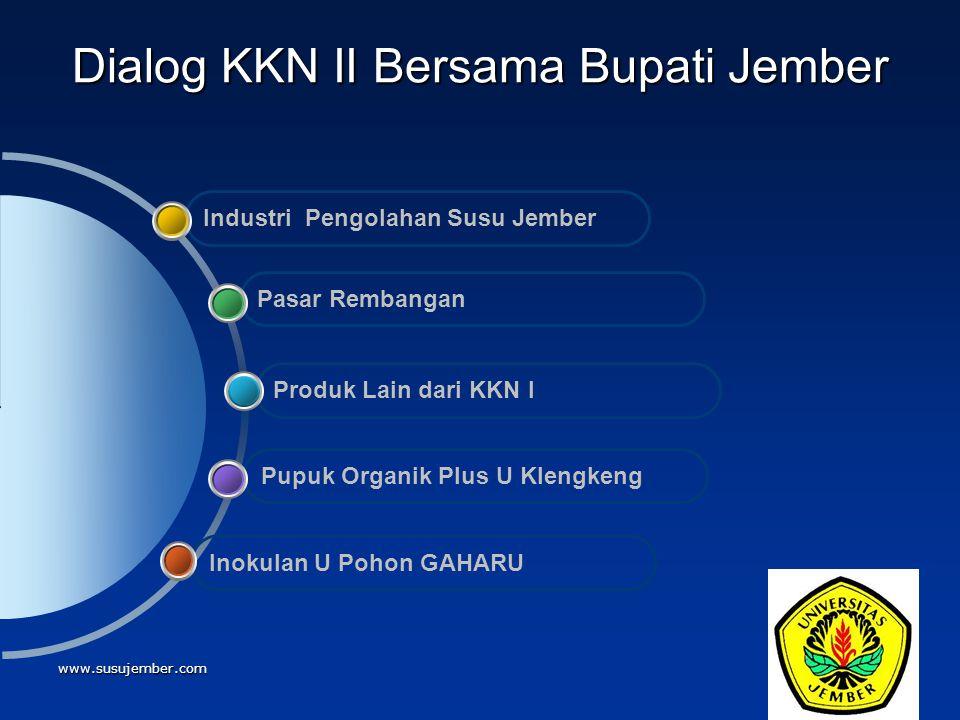 www.susujember.com Dialog KKN II Bersama Bupati Jember Inokulan U Pohon GAHARU Pupuk Organik Plus U Klengkeng Produk Lain dari KKN I Pasar Rembangan I