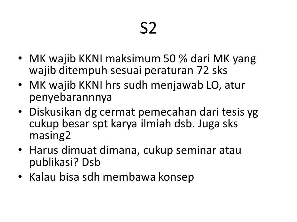 S3 MK wajib KKNI hrs menjawa LO satu atau dua MK saja Seperti S2 bagaimana untuk tugas2 terkait seminar, karya ilmiah dsb yg harus ada dan sksnya Kalau bisa sdh membawa konsep