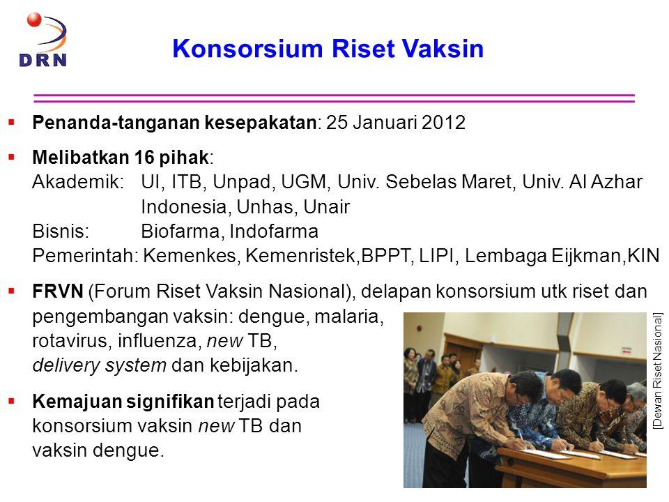 Konsorsium Riset Vaksin  Penanda-tanganan kesepakatan: 25 Januari 2012  Melibatkan 16 pihak: Akademik:UI, ITB, Unpad, UGM, Univ. Sebelas Maret, Univ