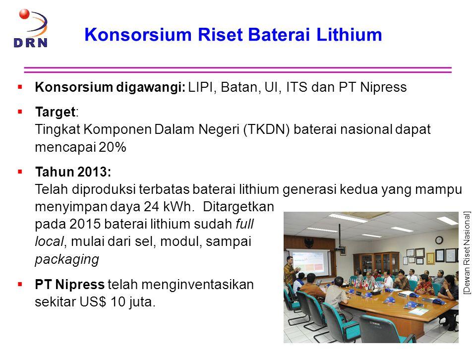 Konsorsium Riset Baterai Lithium  Konsorsium digawangi: LIPI, Batan, UI, ITS dan PT Nipress  Target: Tingkat Komponen Dalam Negeri (TKDN) baterai na