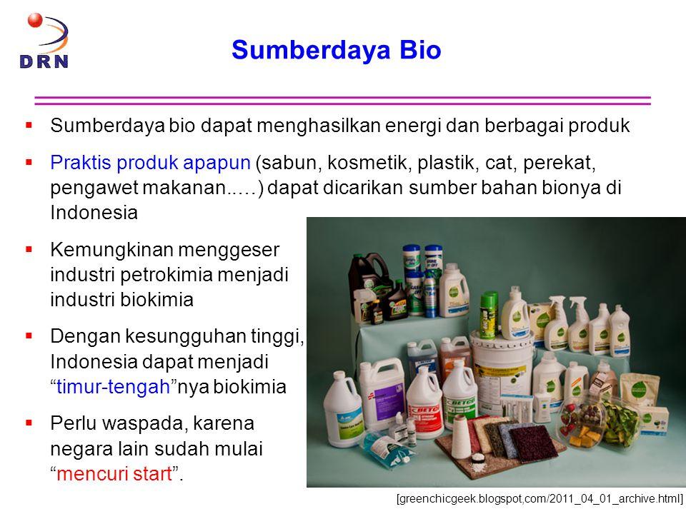 Sumberdaya Bio  Sumberdaya bio dapat menghasilkan energi dan berbagai produk  Praktis produk apapun (sabun, kosmetik, plastik, cat, perekat, pengawe