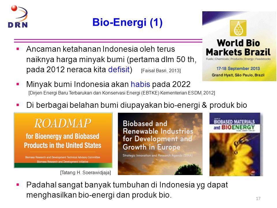 Bio-Energi (1)  Ancaman ketahanan Indonesia oleh terus naiknya harga minyak bumi (pertama dlm 50 th, pada 2012 neraca kita defisit) [Faisal Basri, 20