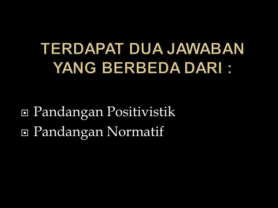 PPandangan Positivistik PPandangan Normatif