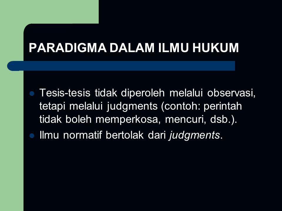 PARADIGMA DALAM ILMU HUKUM Tesis-tesis tidak diperoleh melalui observasi, tetapi melalui judgments (contoh: perintah tidak boleh memperkosa, mencuri,