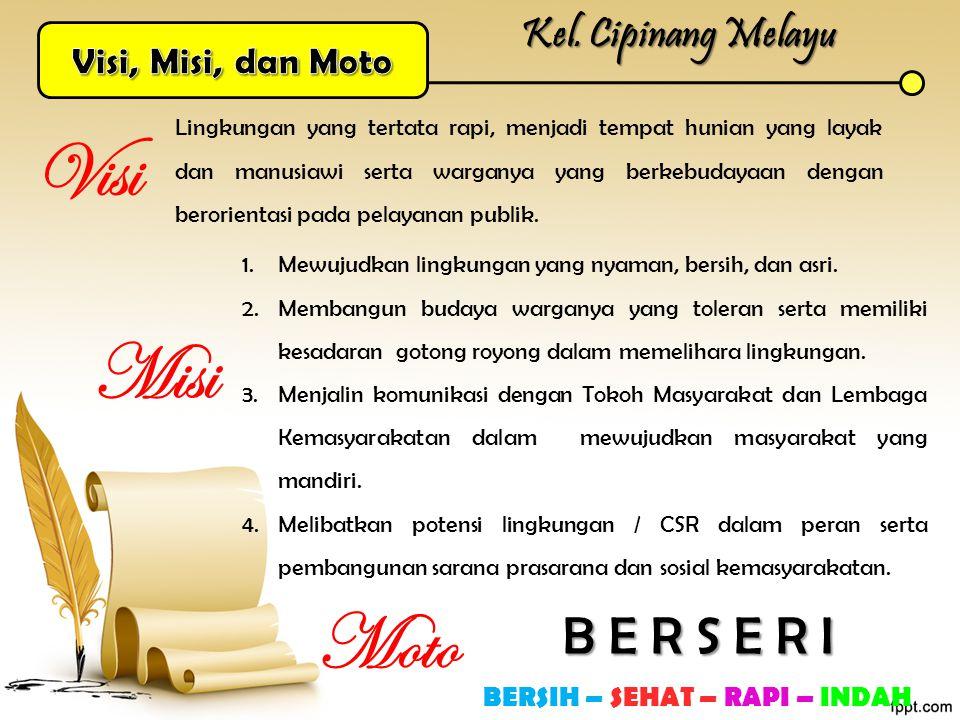 Kel. Cipinang Melayu Lingkungan yang tertata rapi, menjadi tempat hunian yang layak dan manusiawi serta warganya yang berkebudayaan dengan berorientas