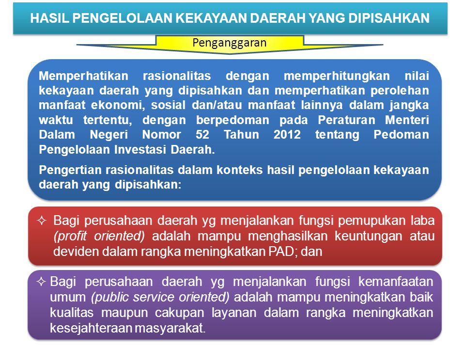 (Pasal 336)  Laba perusahaan umum Daerah ditetapkan oleh KDH selaku wakil daerah sebagai pemilik modal sesuai dengan ketentuan anggaran dasar dan ketentuan per-UU-an.
