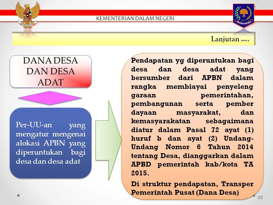 31 PADesa Alokasi APBN (Dana Desa dan Desa Adat) Bagian dari hasil pajak daerah dan retribusi daerah Kab/Kota ADD Bantuan Keuangan APBD Prov/Kab Hibah dan Sumbangan Lain-lain Pendapatan Desa Yang Sah PENDAPATAN DESA (PASAL 72 UU 6/2013) PENDAPATAN DESA (PASAL 72 UU 6/2013)