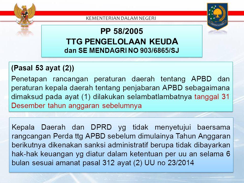 (Pasal 53 ayat (2)) Penetapan rancangan peraturan daerah tentang APBD dan peraturan kepala daerah tentang penjabaran APBD sebagaimana dimaksud pada ayat (1) dilakukan selambatlambatnya tanggal 31 Desember tahun anggaran sebelumnya (Pasal 53 ayat (2)) Penetapan rancangan peraturan daerah tentang APBD dan peraturan kepala daerah tentang penjabaran APBD sebagaimana dimaksud pada ayat (1) dilakukan selambatlambatnya tanggal 31 Desember tahun anggaran sebelumnya PP 58/2005 TTG PENGELOLAAN KEUD A dan SE MENDAGRI NO 903/6865/SJ PP 58/2005 TTG PENGELOLAAN KEUD A dan SE MENDAGRI NO 903/6865/SJ Kepala Daerah dan DPRD yg tidak menyetujui baersama rangcangan Perda ttg APBD sebelum dimulainya Tahun Anggaran berikutnya dikenakan sanksi administratif berupa tidak dibayarkan hak-hak keuangan yg diatur dalam ketentuan per uu an selama 6 bulan sesuai amanat pasal 312 ayat (2) UU no 23/2014