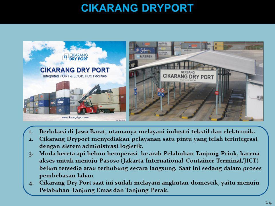 CIKARANG DRYPORT 1.Berlokasi di Jawa Barat, utamanya melayani industri tekstil dan elektronik. 2.Cikarang Dryport menyediakan pelayanan satu pintu yan