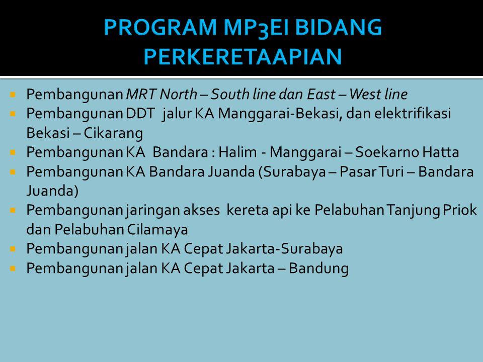  Pembangunan MRT North – South line dan East – West line  Pembangunan DDT jalur KA Manggarai-Bekasi, dan elektrifikasi Bekasi – Cikarang  Pembangun