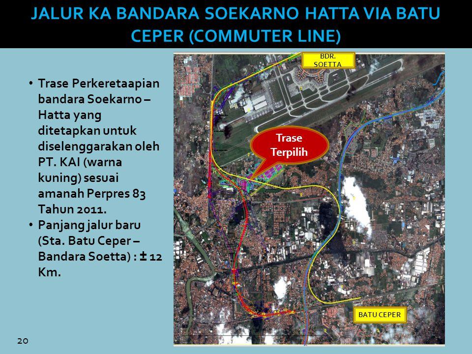 20 Trase Perkeretaapian bandara Soekarno – Hatta yang ditetapkan untuk diselenggarakan oleh PT. KAI (warna kuning) sesuai amanah Perpres 83 Tahun 2011