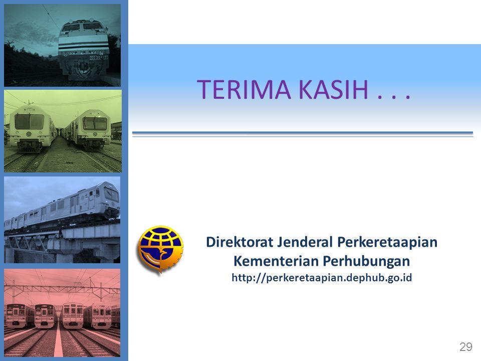TERIMA KASIH... Direktorat Jenderal Perkeretaapian Kementerian Perhubungan http://perkeretaapian.dephub.go.id 29