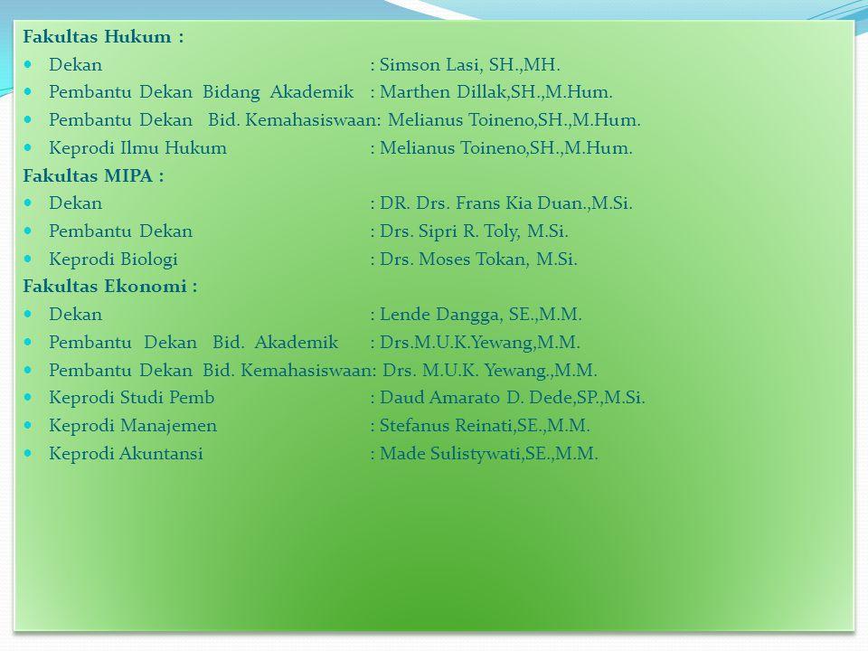 Fakultas Hukum : Dekan : Simson Lasi, SH.,MH.