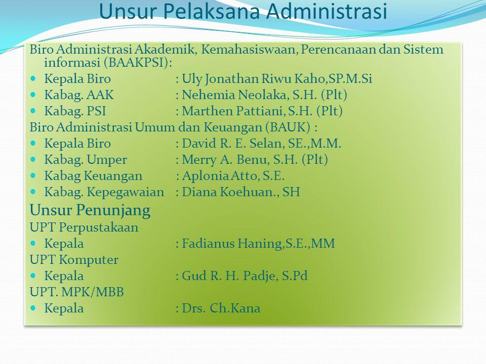 Unsur Pelaksana Administrasi Biro Administrasi Akademik, Kemahasiswaan, Perencanaan dan Sistem informasi (BAAKPSI): Kepala Biro : Uly Jonathan Riwu Kaho,SP.M.Si Kabag.