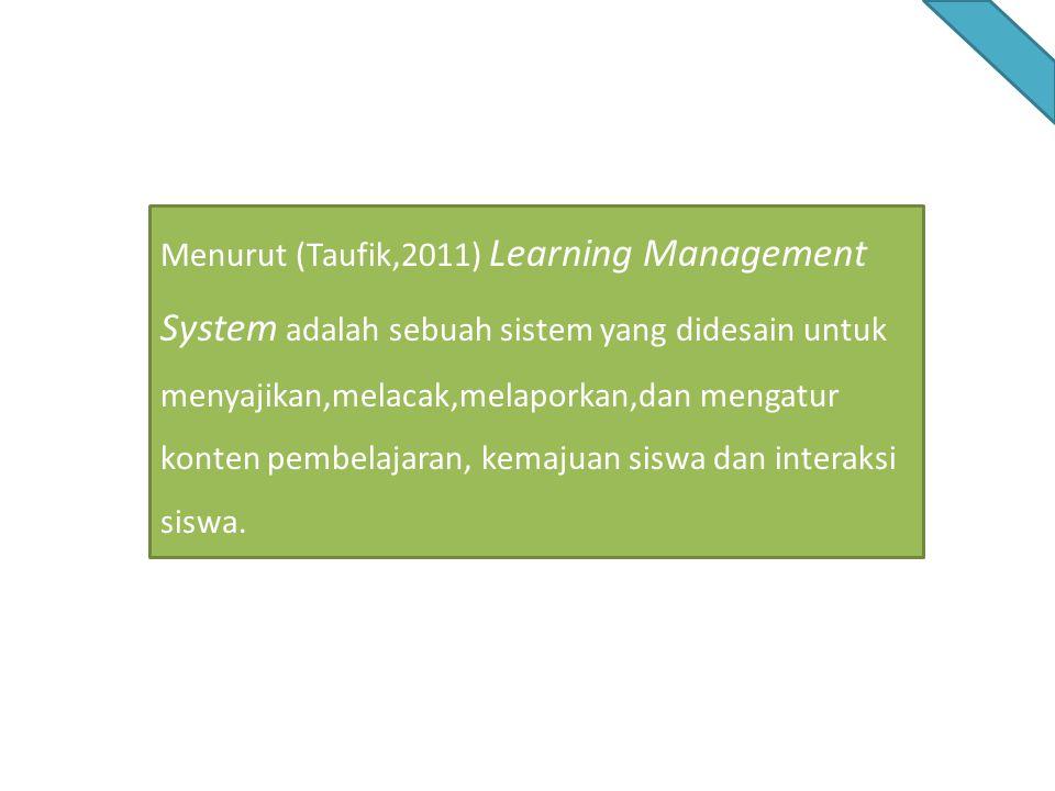 Menurut (Taufik,2011) Learning Management System adalah sebuah sistem yang didesain untuk menyajikan,melacak,melaporkan,dan mengatur konten pembelajar