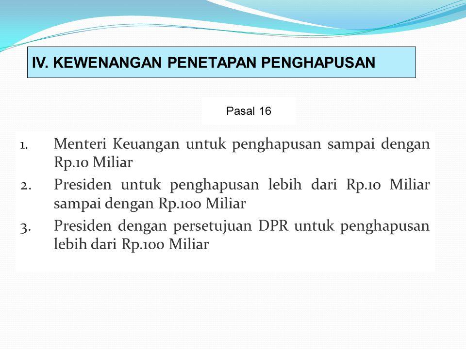 1.Menteri Keuangan untuk penghapusan sampai dengan Rp.10 Miliar 2.