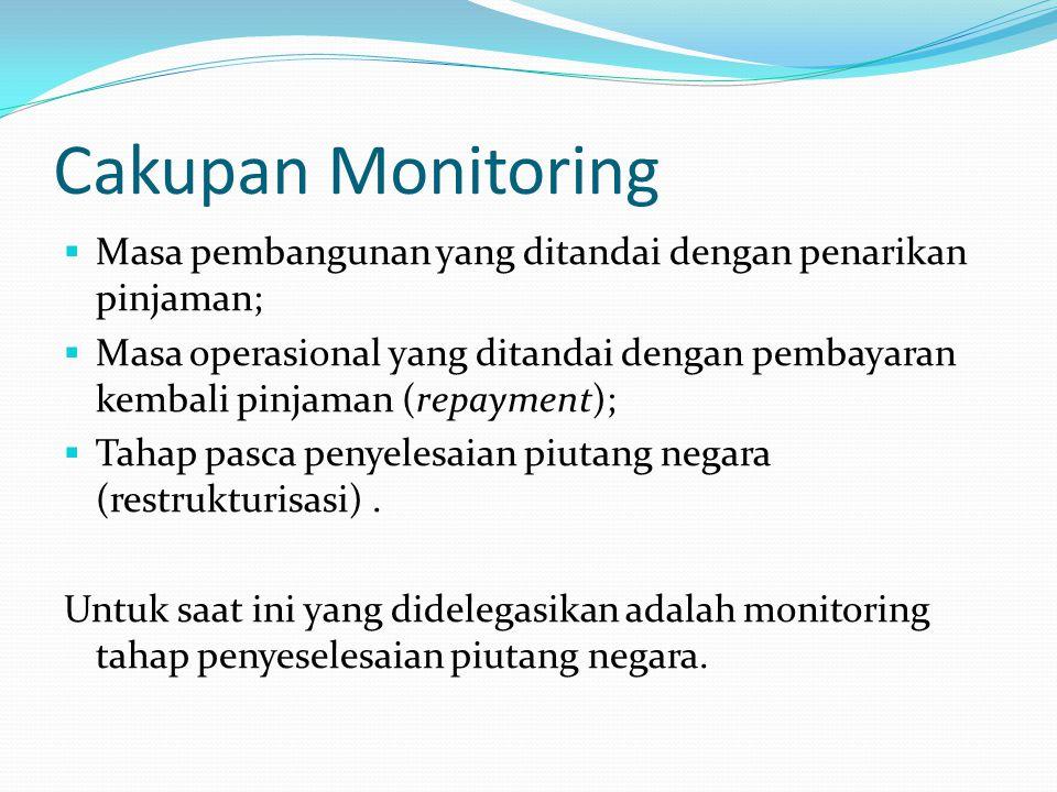 Cakupan Monitoring  Masa pembangunan yang ditandai dengan penarikan pinjaman;  Masa operasional yang ditandai dengan pembayaran kembali pinjaman (repayment);  Tahap pasca penyelesaian piutang negara (restrukturisasi).