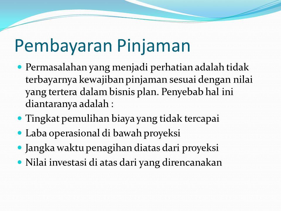 Pembayaran Pinjaman Permasalahan yang menjadi perhatian adalah tidak terbayarnya kewajiban pinjaman sesuai dengan nilai yang tertera dalam bisnis plan.