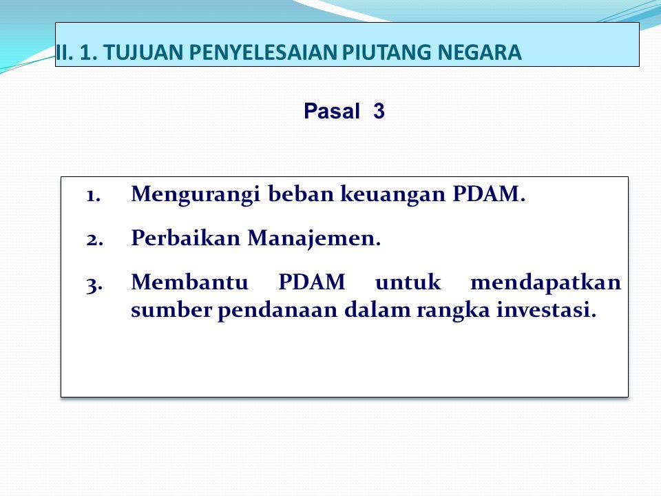 II.1. TUJUAN PENYELESAIAN PIUTANG NEGARA 1.Mengurangi beban keuangan PDAM.
