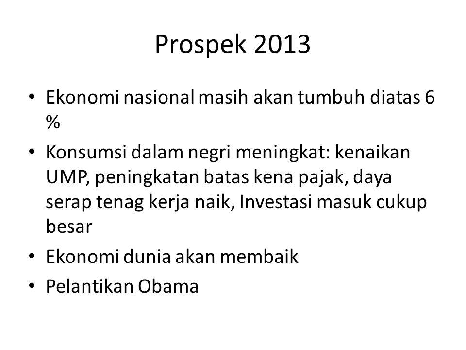 Prospek 2013 Ekonomi nasional masih akan tumbuh diatas 6 % Konsumsi dalam negri meningkat: kenaikan UMP, peningkatan batas kena pajak, daya serap tena