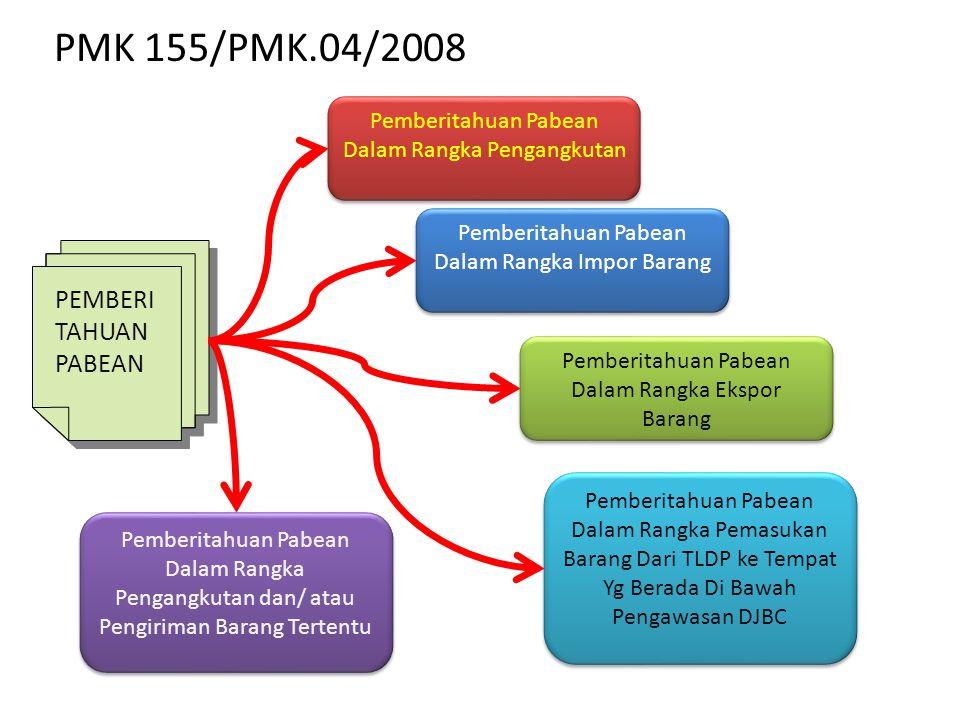 PMK 155/PMK.04/2008 PEMBERI TAHUAN PABEAN PEMBERI TAHUAN PABEAN Pemberitahuan Pabean Dalam Rangka Pengangkutan Pemberitahuan Pabean Dalam Rangka Impor