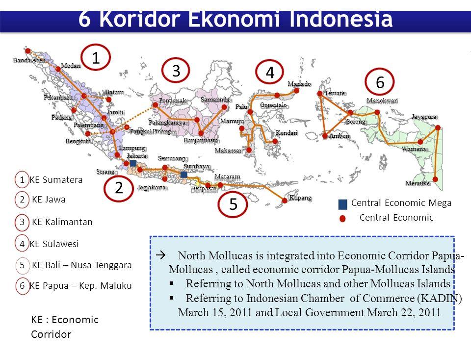 1 1 KE Sumatera 2 KE Jawa 3 KE Kalimantan Lampung Jakarta Semarang Banjarmasin Makassar Kendari Jayapura Merauke Central Economic Mega Central Economi