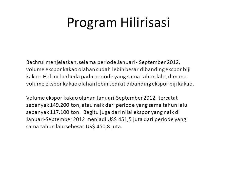 Program Hilirisasi Bachrul menjelaskan, selama periode Januari - September 2012, volume ekspor kakao olahan sudah lebih besar dibanding ekspor biji ka