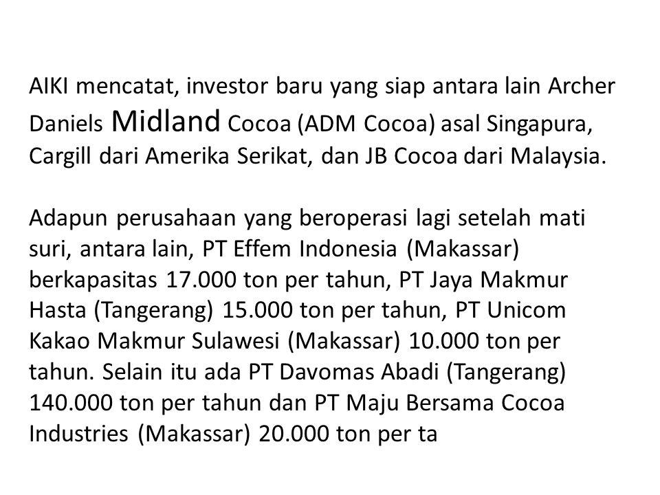 AIKI mencatat, investor baru yang siap antara lain Archer Daniels Midland Cocoa (ADM Cocoa) asal Singapura, Cargill dari Amerika Serikat, dan JB Cocoa