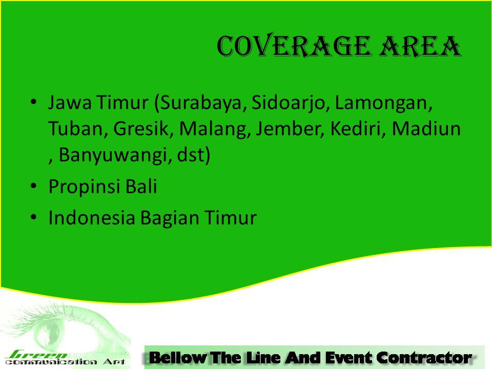COVERAGE AREA Jawa Timur (Surabaya, Sidoarjo, Lamongan, Tuban, Gresik, Malang, Jember, Kediri, Madiun, Banyuwangi, dst) Propinsi Bali Indonesia Bagian Timur