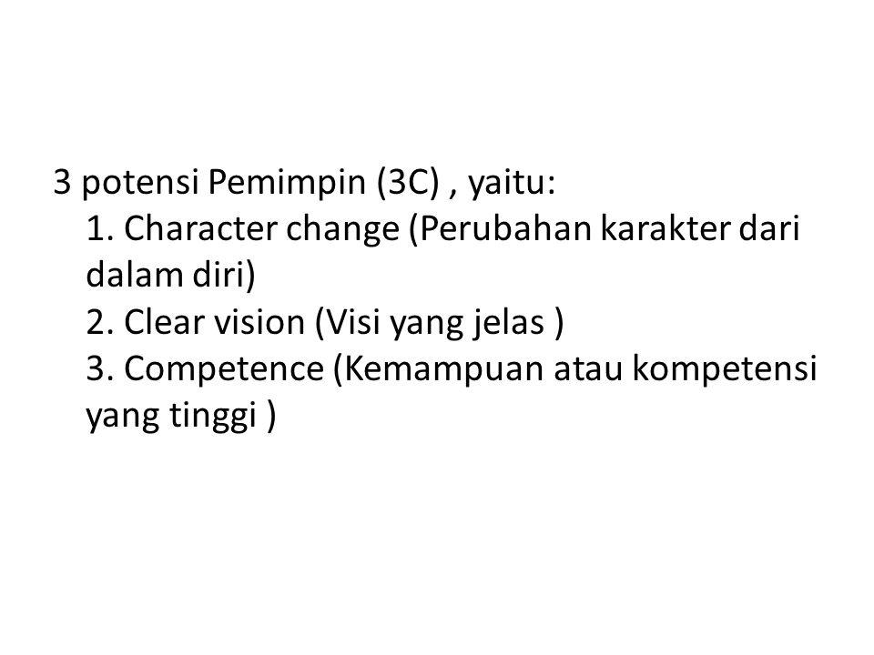 3 potensi Pemimpin (3C), yaitu: 1. Character change (Perubahan karakter dari dalam diri) 2. Clear vision (Visi yang jelas ) 3. Competence (Kemampuan a