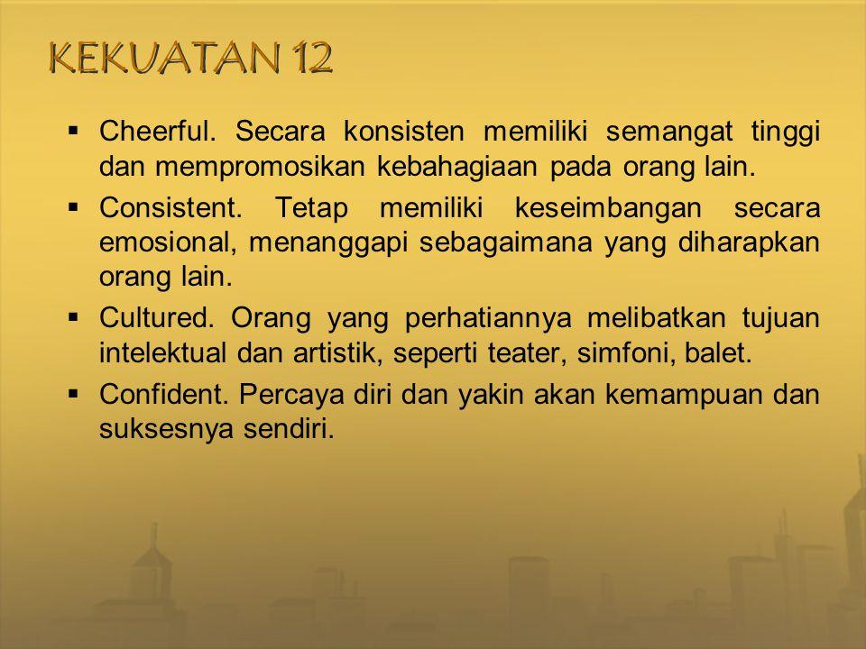 KEKUATAN 12  Cheerful. Secara konsisten memiliki semangat tinggi dan mempromosikan kebahagiaan pada orang lain.  Consistent. Tetap memiliki keseimba