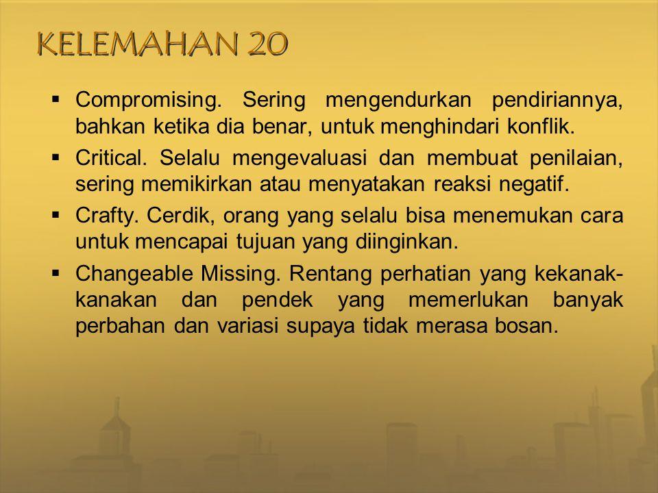 KELEMAHAN 20  Compromising. Sering mengendurkan pendiriannya, bahkan ketika dia benar, untuk menghindari konflik.  Critical. Selalu mengevaluasi dan