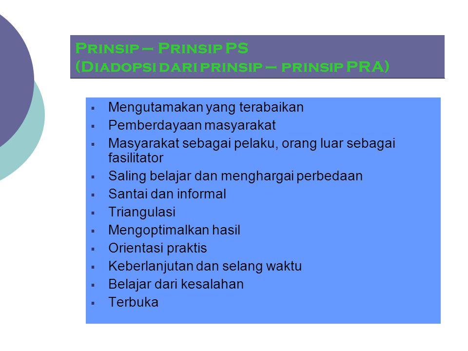 Prinsip – Prinsip PS (Diadopsi dari prinsip – prinsip PRA)  Mengutamakan yang terabaikan  Pemberdayaan masyarakat  Masyarakat sebagai pelaku, orang