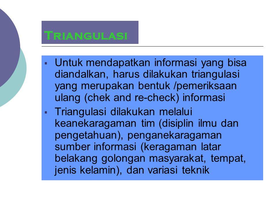 Triangulasi  Untuk mendapatkan informasi yang bisa diandalkan, harus dilakukan triangulasi yang merupakan bentuk /pemeriksaan ulang (chek and re-chec
