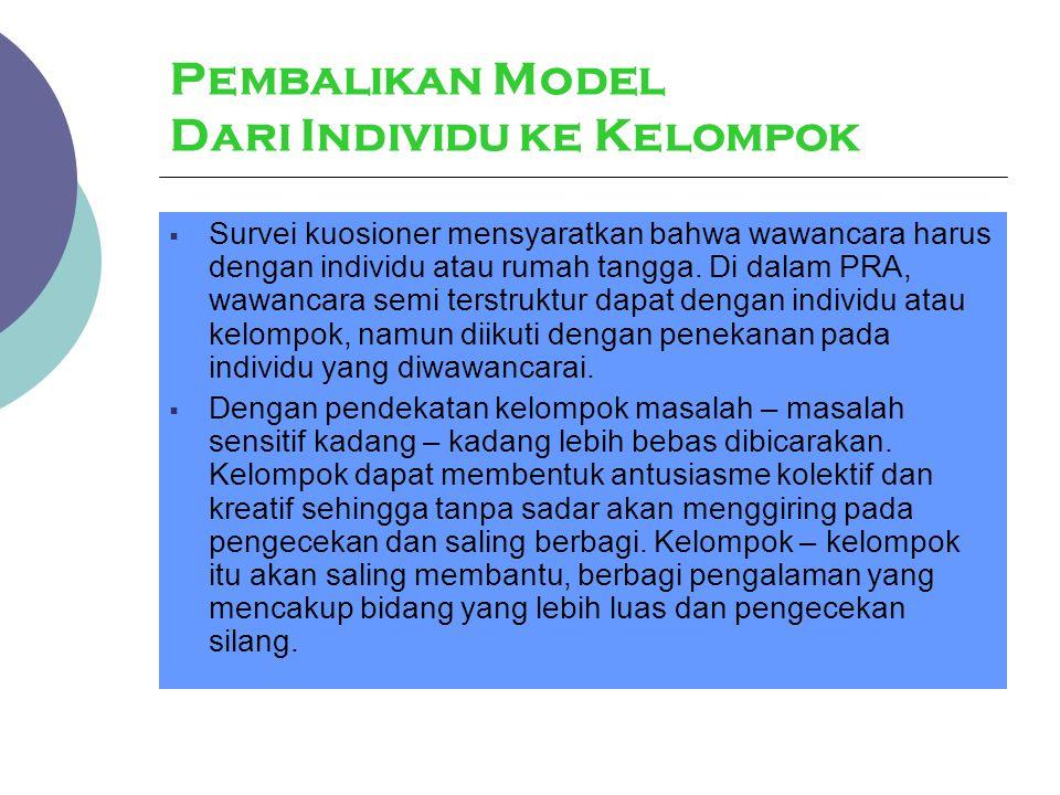 Pembalikan Model Dari Individu ke Kelompok  Survei kuosioner mensyaratkan bahwa wawancara harus dengan individu atau rumah tangga. Di dalam PRA, wawa